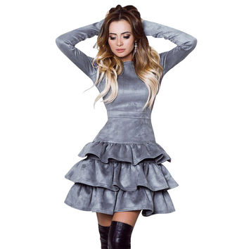 Women Party Dress Long Sleeve Sexy Mini Dress Fit And Flare Slim Solid Ruffles Dress Vestidos Plus Size Women Clothes LJ8177R