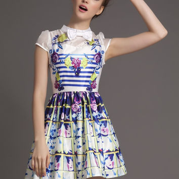 Floral Striped Bow Neck Mesh Embroidered Short Sleeve A-Line Mini Skater Dress