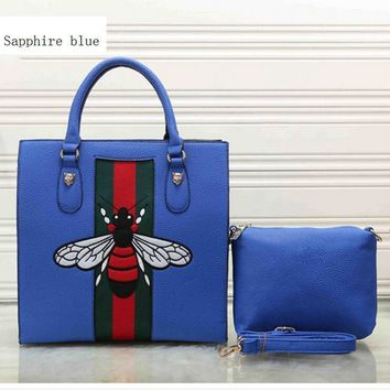 Fashion stripe Bee two piece Shopping Leather Handbag Tote Satchel bag-1
