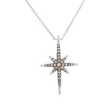 0.24ct 14k White Gold White & Champagne Diamond North Star Necklace