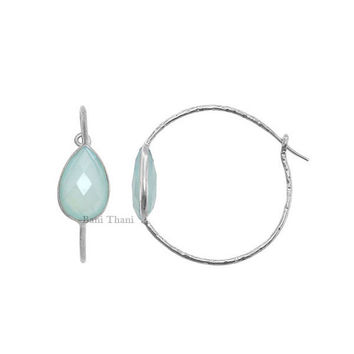 Aqua Chalcedony 10mm x 14mm Hammered 925 Sterling Silver Hoop Earring - #5400