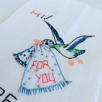 Embroidered Towel Bluebird  Hi Here I Come Fingertip Powder Room Hand Embroidery