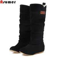 new fashion female woman knee high boots flat heel nubuck leather motorcycle women boots autumn boots autumn winter shoes