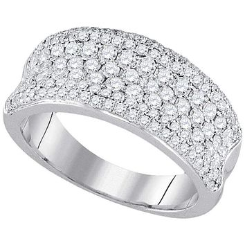 14k White Gold Women's Round Diamond Pave Wedding Anniversary Band Ring 1-1/3 Cttw - FREE Shipping (US/CAN)