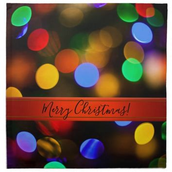 Multicolored Christmas lights. Add text or name. Cloth Napkin