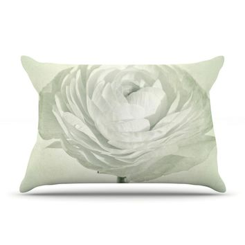 """Iris Lehnhardt """"Whity"""" Gray Floral Pillow Case - Outlet Item"""