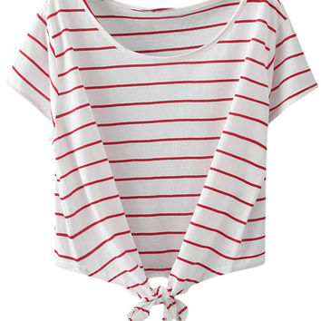 Red Stripe Short Sleeve Self-tie Bow T-shirt