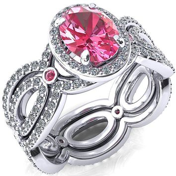 Polaris Oval Lab-Created Pink Sapphire Diamond Halo Full Eternity Pink Sapphire Bezel Diamond Accent Ring