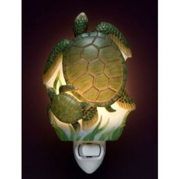 Ibis and Orchid Sea Turtles Tropical Ocean Beach Night Light