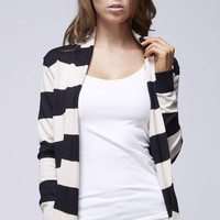 Striped Cardigan - Black