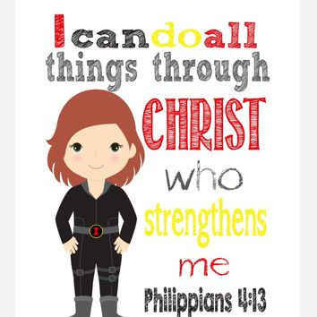 Black Widow Superhero Christian Nursery Decor Print - I Can Do All Things Through Christ - Philippians 4:13