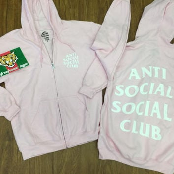 AntiSocial Social Club Hoodie in Baby Pink Masochism Zip Up Hoodie /ASSC /Kanye West Anti Social  Cash Me Outside anti social club