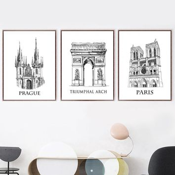 Prague Paris Triumphal Arch Nordic Poster And Prints Wall Art Canvas Painting Wall Pictures For Living Room Bedroom Home Decor