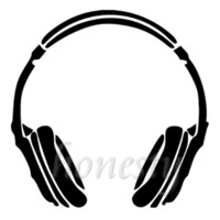 Headphone Music DJ Wall Home Glass Window Door Car Sticker Laptop Auto Truck Black Vinyl Decal Sticker Decor Gift 11.6cmX11.6cm