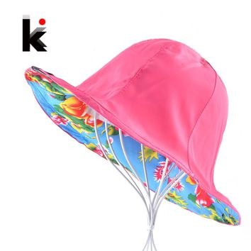Summer Floppy Sun Hat For Women Flower Patten And Solid Color Two Side Use Beach Hats Foldable Bucket Cap Sombreros Mujer Verano