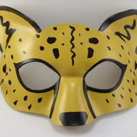 Cheetah Mask Hand Made from Leather Spirit Animal Totem Great for cosplay, masquerade, dress up or display!