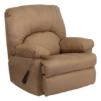 Contemporary Montana Latte Microfiber Suede Comfort Chaise Rocker Recliner Armchair