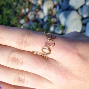Cursive wire love ring with chain.