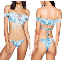 Sexy Off Shoulder Swimsuit Suit Strap Belly Bikini Set