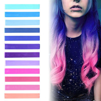 GALAXY HAIR | Blue, Purple, Lilac & Pink Pastel Ombre Hair Chalk temporary hair color set of 12