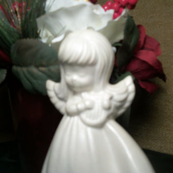 White Ceramic Angel Figurine Girl Playing Lyre Collectible Vintage 1960s Handpainted Iridescent Cottage Chic Home Decor