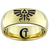 9mm Gold Tungsten Carbide Legend of Zelda Skyward Sword Crest Laser De