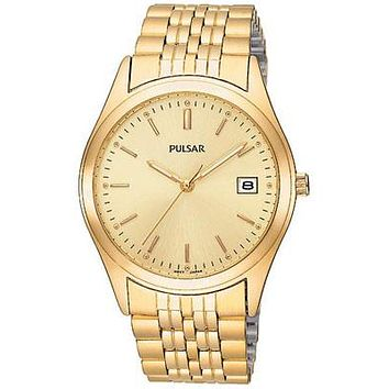 Pulsar Men's Dress Watch - Gold-Tone - Champagne Face - Date