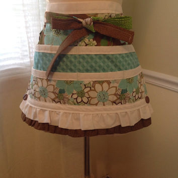 Ruffled Utility Apron, Brown and Blue Teacher's Apron, Craft Apron With Pockets