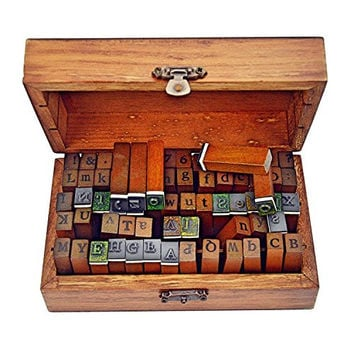 Ning store 70pcs Number and Alphabet Letter Stamp Number Stamp Rubber Stamps with Vintage Wooden Box ,Ideal for DIY Diary,Craft,Cards