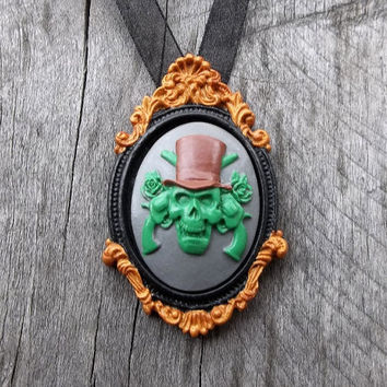 "A ""Walking Dead"" Zombie Cameo Necklace ""Gilded"" Picture Frame Pendant with Zombiefied Cameo on choice of Ribbon or Chain Necklace"