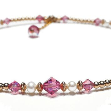 14K GF Pink Tourmaline Crystal Beaded Birthstone Anklets, October Birthstone Swarovski Crystals