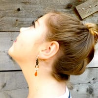 Olive Green Leather Knotted Earrings Wrapped in Orange and White Thread with Orange Tassel Dangle Sterling Silver Boho Henna One of a Kind