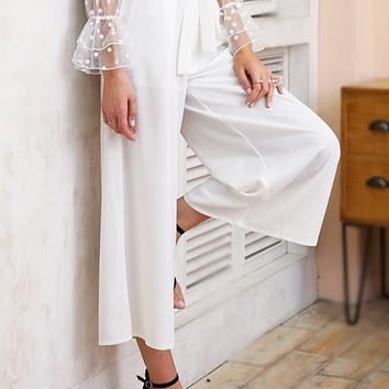 White Sashes Bow High Waisted Casual Nine's Pants