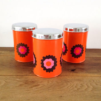 "Vintage 70's Canisters/Container  ""Brabantia"" 3 Retro Orange Flowers Storage Box ""Patrice"" Design."