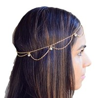 Women's Simple Bohemia Head Chain Tassels Pearls Hairband Headband