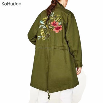 KoHuiJoo Spring AutUmn Women Long Trench Coat Female Full Length Back Flower Embroidery Coats Loose Windbreaker Army Green