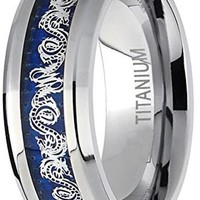 CERTIFIED 8MM Men's Titanium Dragon Design Over Blue Carbon Fiber Inlay Ring