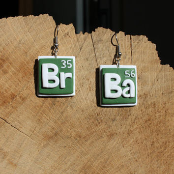 Breaking Bad fimo earrings -- Bromine and Barium chemical symbols in polymer clay // Fimo jewelry