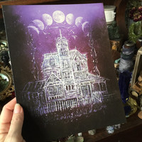 Print from Original Painting Victorian Practical Magic House Moon Witch Halloween Gothic Folk Terri Foss No sparkles version