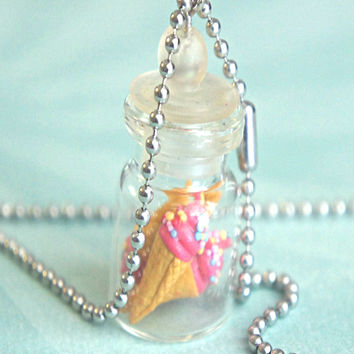 Strawberry Ice Cream in a Jar Necklace