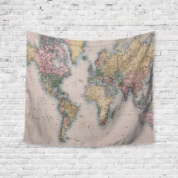 Vintage Map Retro Map Trendy Boho Wall Art Home Decor Unique Dorm Room Wall Tapestry Artwork