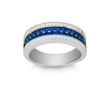 Sapphire and CZ Micro Pave Ring