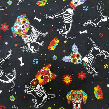 Timeless - treasures - quilting - cotton - sugar - skull - skeleton - dog - dogs - puppies - fabric