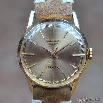 LONGINES CONQUEST FLAGSHIP Ref 503 Cal 30 LS 1960's 18K ROSE GOLD MANUAL WINDING