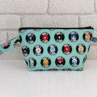 Men's Retro Vinyl Record Wash Bag with Wristlet Strap
