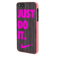 Nike Just Do It Wood Colored Darkwood Wooden Pink iPhone 5 Case Framed Pink