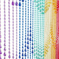 ShopWildThings Beaded Curtain Raindrops Rainbow Acrylic