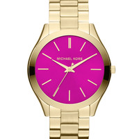 Mid-Size Golden/Pink Stainless Steel Runway Three-Hand Watch - Michael Kors