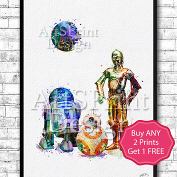 Star Wars Print Death Star C-3PO BB-8 R2D2 Watercolor Print Star Wars Poster Wall Hanging Star Wars Art Birthday Gift Home Decor Nursery Art