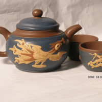 Phoenix and Dragon Chinese Yixing Tea Pot with Matching Tea Cups